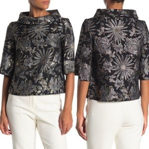 TRINA TURK Kailee Floral Metallic Accent Blouse